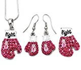 Soulbreezecollection Boxing Gloves Breast Cancer Awareness Pink Ribbon Brooch Pin Dangle Earrings Set