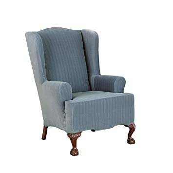 Excellent Surefit Stretch Pinstripe Wing Chair Slipcover French Blue Machost Co Dining Chair Design Ideas Machostcouk
