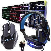 Kit Gamer Haiz Teclado Mouse e Headset 5.1 Luz Led Hz18