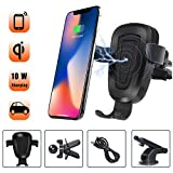 Wireless Car Charger Mount - 10W Fast Wireless Charging Car Mount, Air Vent Car Phone Holder Adjustable Gravity Cell Phone Car Holder