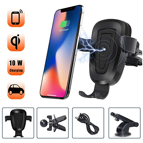 Wireless Car Charger Mount - 10W Fast Wireless Charging Car Mount, Air Vent Car Phone Holder Adjustable Gravity Cell Phone Car Holder ()