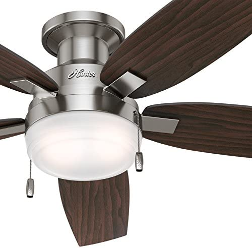 Hunter Fan 52 inch Low Profile Contemporary Ceiling Fan with LED Light in Brushed Nickel Renewed