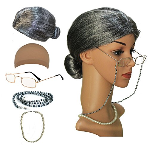 qnprt Old Lady Mrs. Santa Wig, Madea Granny Glasses, Eyeglass Chains Holder and Cords Strap,FauxPearl Beads Choker Necklaces (Mrs Santa Dresses)