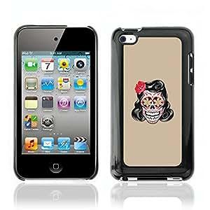 Carcasa Funda Case // V0000588 Vector Floral Skull Tattoo// Apple iPod Touch 4 4G 4th
