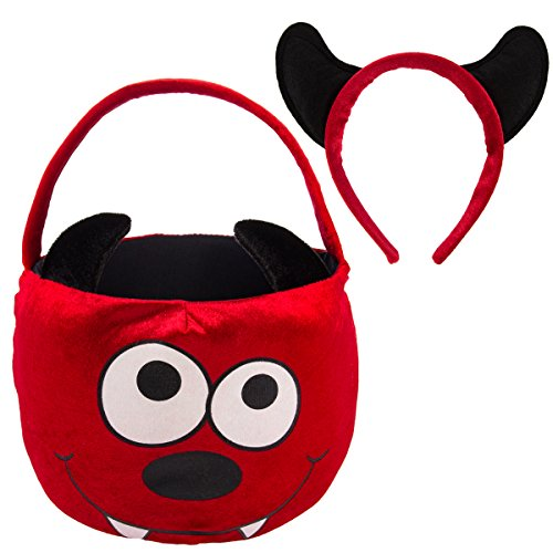 Dan Dee Halloween Plush Kids Trick Or Treat Basket Candy Bag & Costume Headband]()