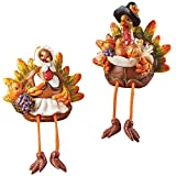 Collections Etc Turkey Shelf Sitters Set Fall Tabletop Decor, 2 Pc