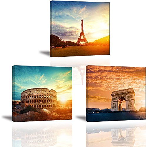 Eiffel Painting Paris Oil Tower (Classical European Architecture Wall Art, Paris Eiffel Tower, Rome Colosseum & Triumphal Arch Canvas Painting Decor, History Building Attractions Sunset Picture-Conquer All (3 Pieces Ready to Hang))