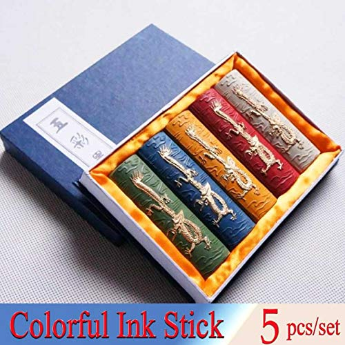 WellieSTR 5pcs/Set Chinese Paint Solid Ink Stick for Painting Calligraphy 5 Dragons Ink Hui Mo Lao Hu Kai Wen Colorful Inker Art Supplies