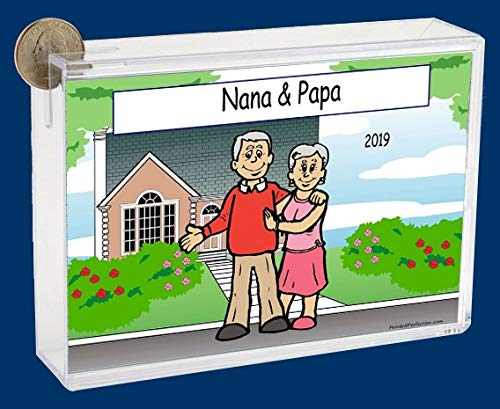 Personalized NTT Cartoon Side Slide Frame Gift: Grandparents at Home Gift, Grandparents, Grandparents Day, Elderly Couple