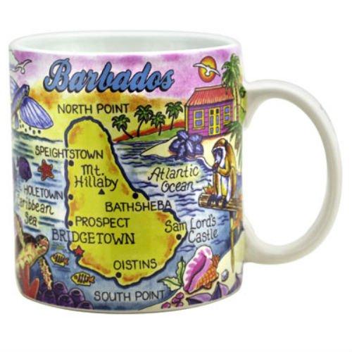 - Barbados Map Caribbean Souvenir Collectible Large Coffee Mug (4