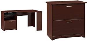 Bush Furniture Cabot Corner Desk with File Drawer in Harvest Cherry & Cabot 2 Drawer Lateral File Cabinet, Harvest Cherry