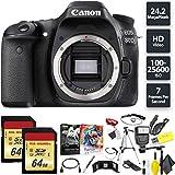 Canon EOS 80D DSLR Camera (Body) + 128GB Memory Card (2X 64) Base Combo