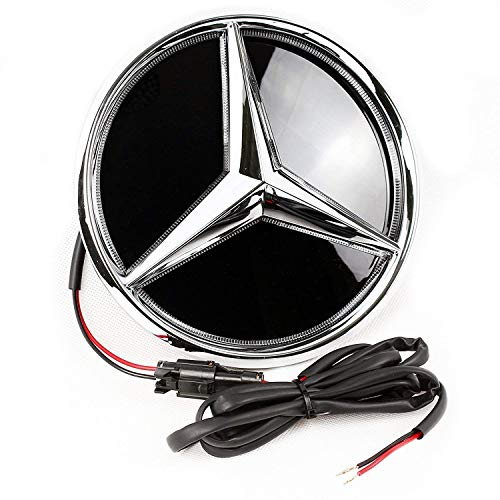 YUJSRIP Xenon White Light LED Emblem for Mercedes Benz 2011-2019, Front Car Grille Badge, Illuminated Logo Hood Star DRL - Drive Brighter(Mirror Surface)