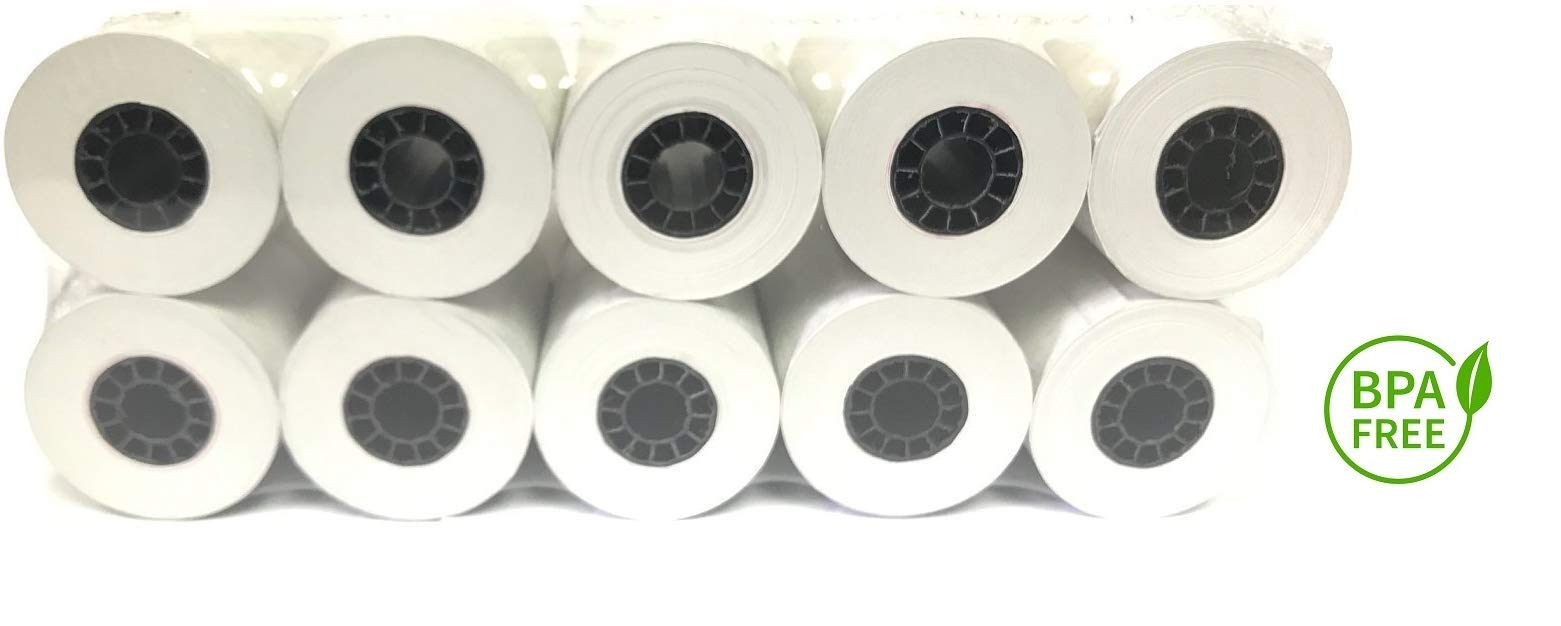 BAM POS, Thermal Receipt Paper 2 1/4'' x 85' Paper Tray Pack (10 Rolls) for First Data FD130, FD50, FD55, Verifone Omni by BAM POS