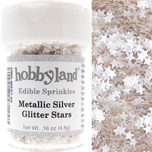 Hobbyland Edible Sprinkles (Metallic Silver Glitter Stars, 4.5g) (Edible Cookie Decorations)