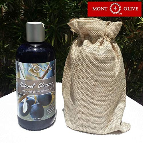 Mont Olive Natural Cleanser, Shampoo, Conditioner, with Extra Virgin OLIVE Oil -rich with VITAMINS A, E, K, Omega 9 ANTIOXIDANTS-, ROSEMARY Essential Oil, for Face/Hair/Skin, Organic, 12oz, 355mL