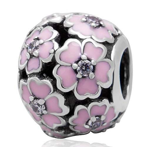 The Cherry Blossom Charm 925 Sterling Silver Flower Beads fit for DIY Charms Bracelets (pink) ()