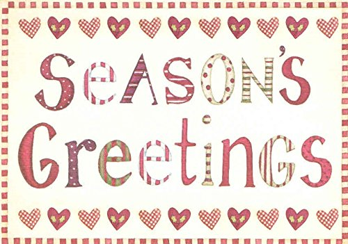 Classic Holiday Card 12 Pack ~ Season's Greetings and Best Wishes (Heart and Candy Cane Border; 4.25