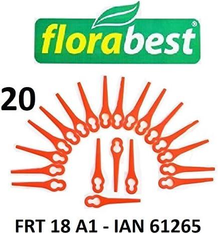 20 Flora Best Cuchilla de repuesto para batería Cortacésped frt18 a1 – Lidl Ian 61265/cuchillo/plotter Fichas/PA6: Amazon.es: Jardín