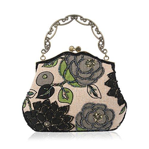 Vintage Purse Style Beaded Black Evening Clutch Embroidery Blue Wedding Handbag Party Bag Dabixx BTxqwB