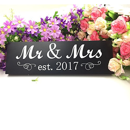 Mr & Mrs 2017 Sign Wood Wedding Sweetheart Table Decorations,Wall