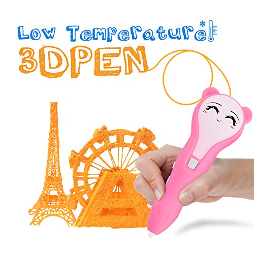 3D Pen, iDER 3D Doodler Drawing Printing Pen with 1.75mm PCL Filaments, Low-temperature Non-toxic for Adults,   Doodling, Artist, Kids, DIY, Drawing etc (Pink) by IDER