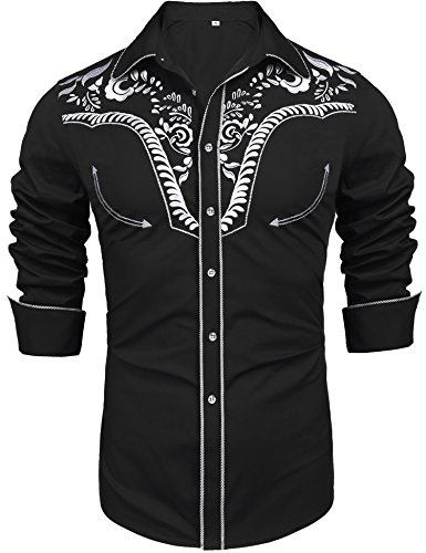 Daupanzees Men's Long Sleeve Embroidered Shirt Dress Shirt Slim Fit Casual Retro Western Button Down Shirts(Black L)
