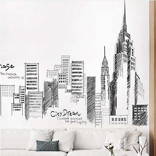 Pbldb Black Retro Large High City Building Set Wall Stickers PVC Homemade Mural Art Living Room Sofa Decoration Background Decal Large Size ()
