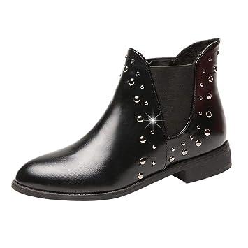 ZARLLE_Botas Botas para Mujer,ZARLLE Moda OtoñO Invierno Zapatos De Remaches Casuales De Mujer Keep Warm Boot Botines Planos De Cuero Boots: Amazon.es: Ropa ...