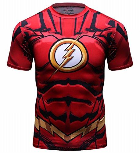 Red Plume Men's Compression Sport T-Shirt Tight Fitness Shirt Lightning Armor Sports Short Sleeve (The Flash Sports Shirt)
