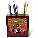 3dRose Beverly Turner Christmas Design - Christmas Room, Fireplace, Tree, Toys, Merry Christmas - 5 inch tile pen holder (ph_267929_1)