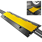 "Durable Cable Protective Ramp Cover - Supports 33000lbs Three Channel Heavy Duty Cord Protection w/Flip-Open Top Cover, 35.4"" x 13.6"" x 1.96"" Cable Concealer for Indoor Outdoor Use - Pyle PCBLCO105"