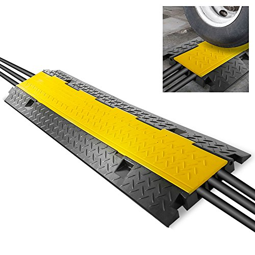 (Durable Cable Protective Ramp Cover - Supports 33000lbs Three Channel Heavy Duty Cord Protection w/Flip-Open Top Cover, 35.4