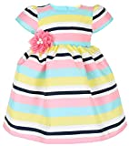 Lilax Little Girls Colorful Stripe Princess Pageant Easter Dress Gown with Headband
