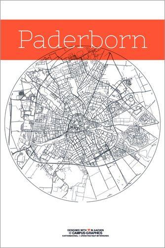 Karte Paderborn.Forex Platte 120 X 180 Cm Paderborn Karte Stadt Schwarz Weiss Von