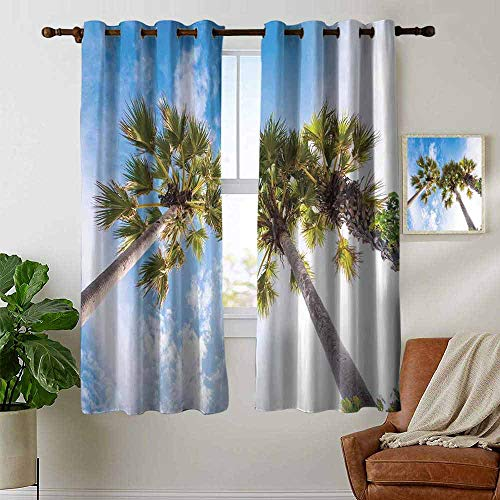 petpany Blackout Curtains Nature,Palm Tree at Phromthep Cape,Phuket,Thailand with Summer Sky View Holiday Picture,Blue Green,for Bedroom,Nursery,Living Room 42