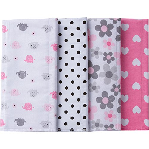 - Gerber Baby 4 Pack Flannel Burp Cloth, Elephants/Flowers, One Size