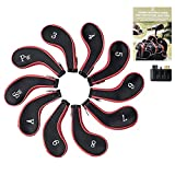 Golf Club Iron Covers by ChampWagon | Zippered Neoprene Protectors for All Standard Clubs (10-Pack) + 3-in-1 Cleaning Tool + eBook with Beginner Golf Tips (Red)