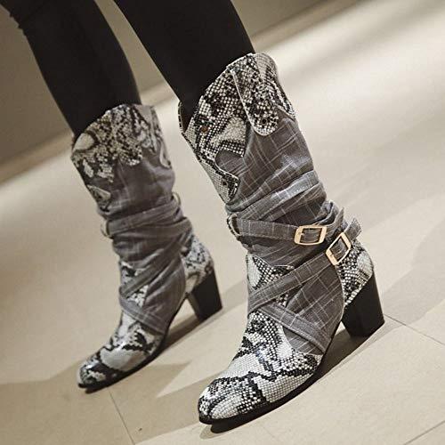Cowboy Taoffen Et Gris Femmes Bottes Bottines Of7Hqxtfw