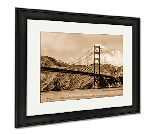 Ashley Framed Prints Amazing View Over Golden Gate Bridge In San Francisco, Wall Art Home Decoration, Sepia, 26x30 (frame size), Black Frame, - Shops San Square Union Francisco