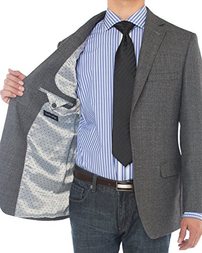 Luciano Natazzi Mens 2 Button 160'S Wool Blazer Working Button Holes Suit Jacket (44 Regular US / 54 Regular EU, Charcoal) by Luciano Natazzi (Image #4)
