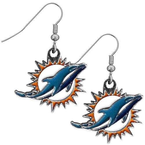 NFL Miami Dolphins Chrome Dangle Earrings - Miami Dolphins Chrome Clock