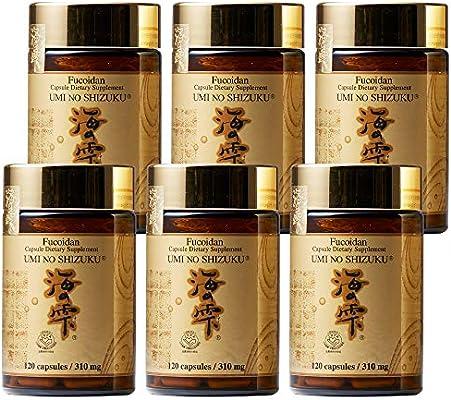 6 Bottles of Umi No Shizuku Fucoidan Capsule Pure Seaweed Extract Enhanced with Agaricus Mushroom Optimized Immune Support Health Supplement