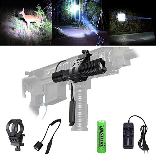 Zoom Picatinny ar-15 Flashlight 500 Lumens AR Tactical Gun Flashlight is Single 1 Mode 200 Yard with Offset Rail Mount Dual Control Remote Pressure Switch, VASTFIRE