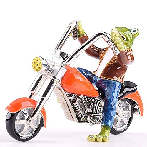 Keren Kopal Frog on Motorcycle Trinket Box Faberge Style Decorated with Swarovski Crystals Unique Home Decor ()
