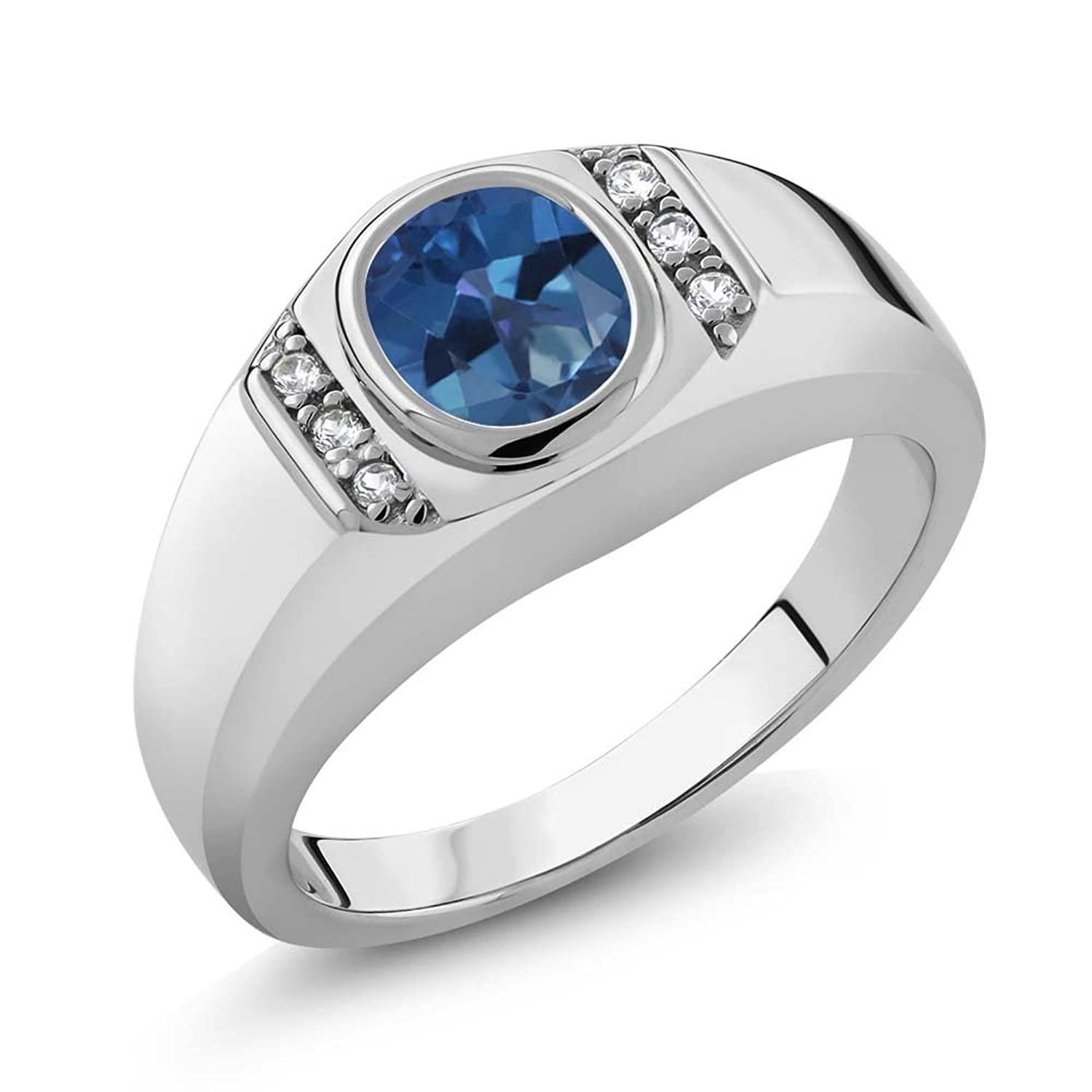 1.36 Ct Royal Blue Mystic Topaz White Created Sapphire 925 Silver Men's Ring
