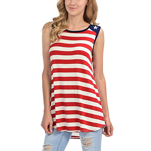 TWinmar -Women Summer American Flag Tank Tops Sleeveless Stars Striped Printed T-Shirt Plus Size Shirts Loose Fit Camisole Tunic Vest (Red,L) ()