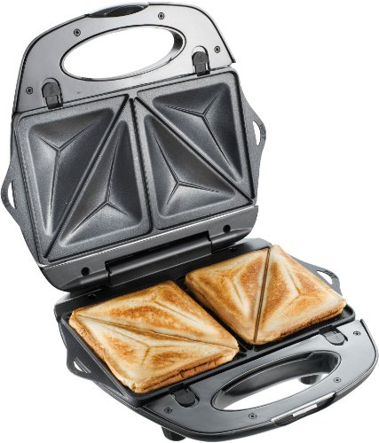 T-fal 1500637135 SW6100 EZ Clean Easy to Clean Nonstick Sandwich and Waffle Maker with Removable Dishwasher Safe Plates, 2-Slice, Silver