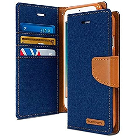 official photos 7aff6 51ba4 Cool & Creative Canvas Dairy Oppo A83 Flip Cover Leather Case | Inner TPU |  Wallet Stand - Blue Canvas