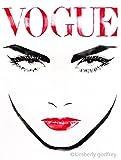 Vogue Original Watercolour Painting Black Ink Fashion Illustration Salon Decor Runway Model Red Lipstick